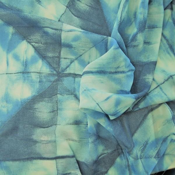 Georgette leichter Stoff blau-weiß