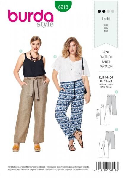 Burda Schnitt Hose – gerade Form – aufgesetzte Taschen 6218