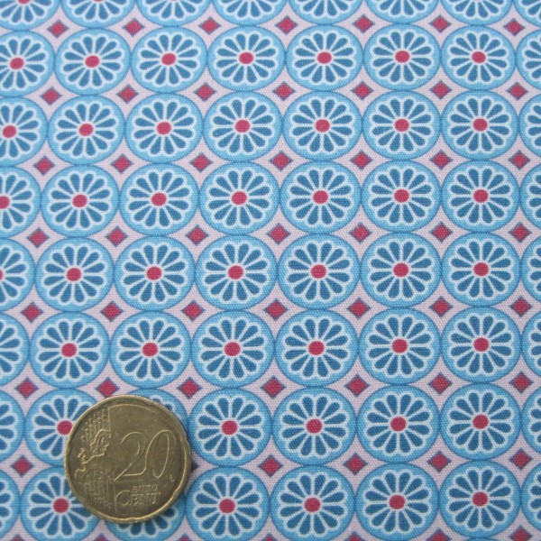 Baumwollstoff HILDE Popeline Ornamente türkis-multicolor