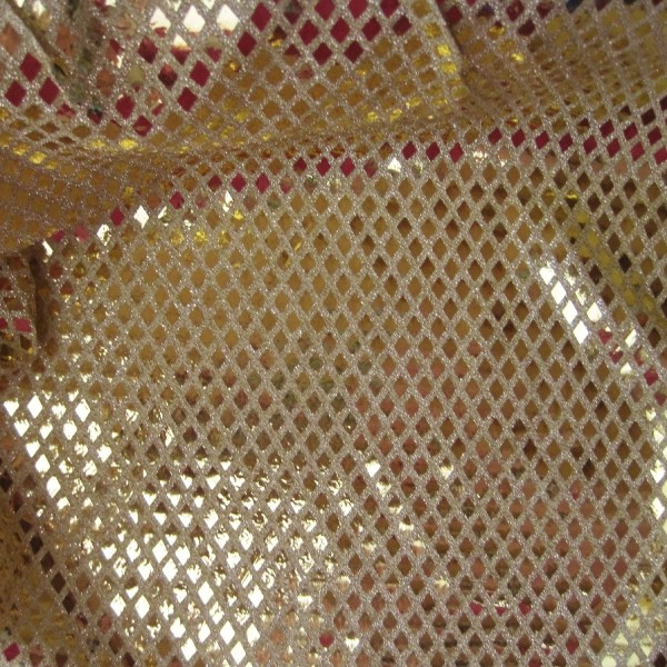 Paillettenstoff RAUTE gold-gold 110/93