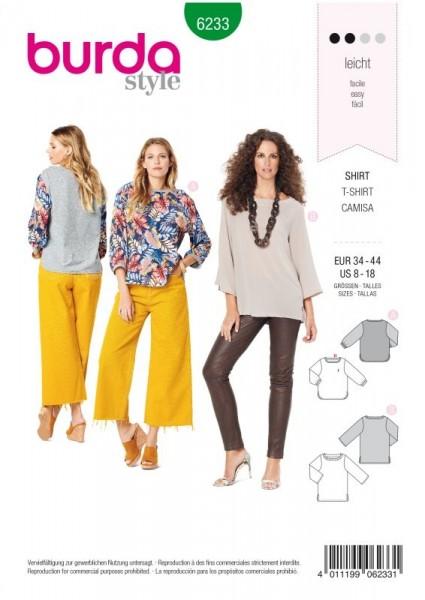 Burda Schnitt Shirt – graffte Ausschnittblende – 3/4 Ärmel 6233