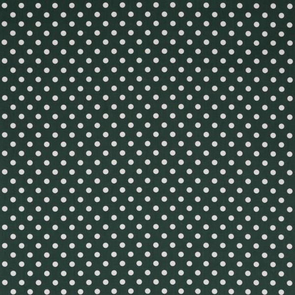Baumwollstoff JUDITH Tupfen dunkelgrün-weiß 7 mm