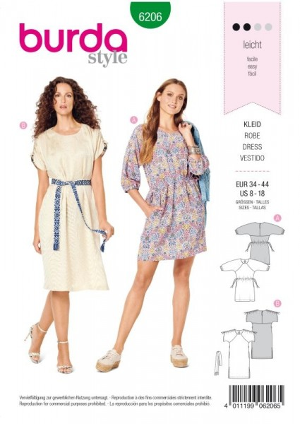 Burda Schnitt Legeres Kleid mit Raglanärmeln – Taillendurchzug 6206