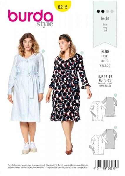 Burda Schnitt Kleid mit Knopfverschluss – V-Ausschnitt – Saumvolant 6215