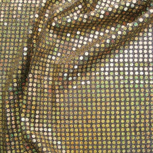 Paillettenstoff HOLO schwarz-gold 112/96