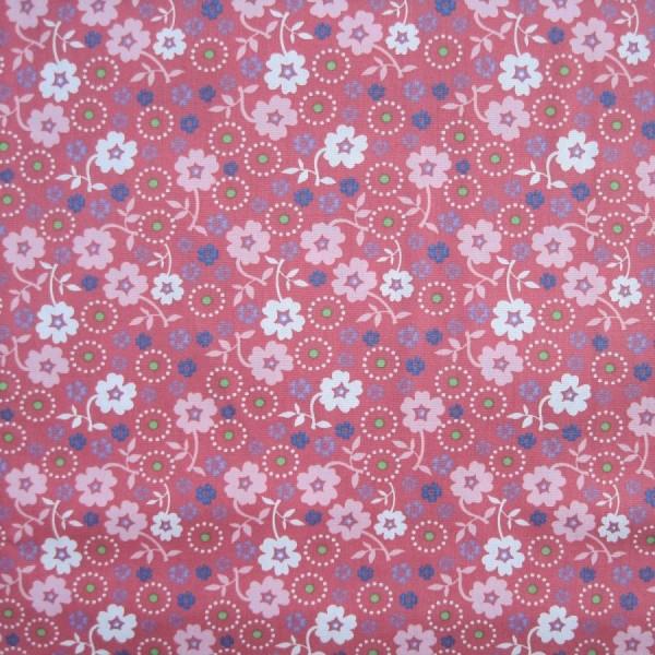 Baumwollstoff Popeline Druck Blumen dunkelaltrosa-multicolor