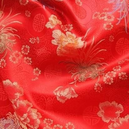 Jacquard-Satin Stoff rot-multicolor