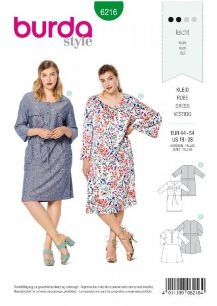 Burda Schnitt Kleid mit vord. Knopfverschluss und Taillenblende 6216