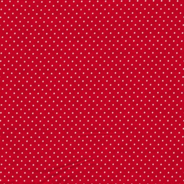 Baumwollstoff JUDITH Tupfen rot-weiß 2 mm