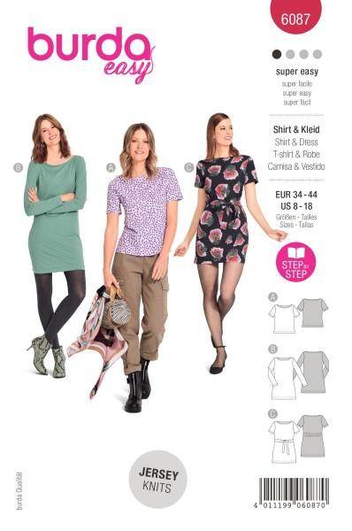 Burda Schnitt 6087 Shirt und Kleid