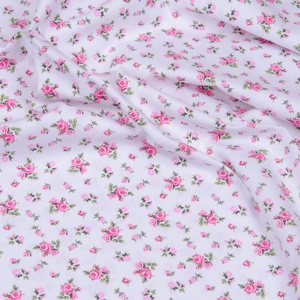 Baumwollstoff HILDE Popeline kleine Rosen weiß-rosa
