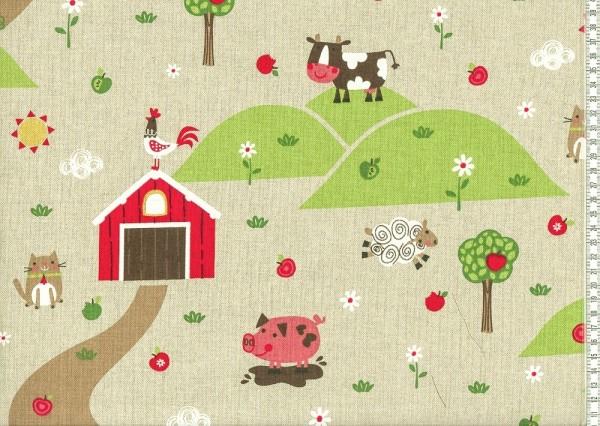 Dekostoff beige mit Druck Bauernhof