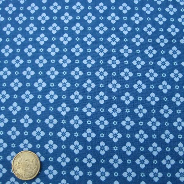 Baumwollstoff HILDE Popeline kleine Blumen petrol-graublau