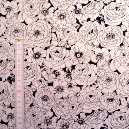 Patchworkstoff Black and White Blumen
