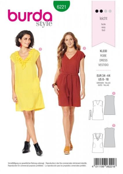Burda Schnitt Kleid – ärmellos – V–Ausschnitt mit Volant – legere Form 6221