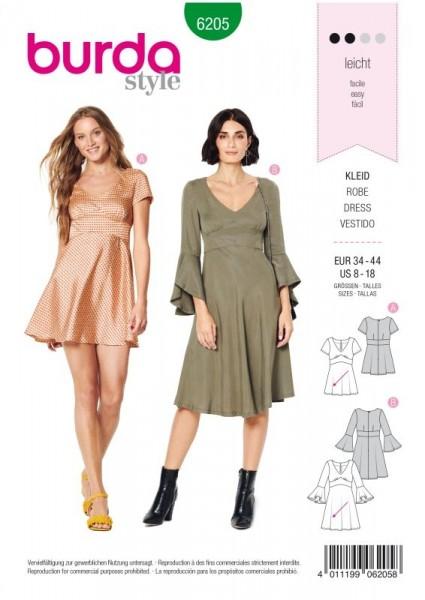 Burda Schnitt Kleid mit Empire-Blende – glockiger Rock 6205