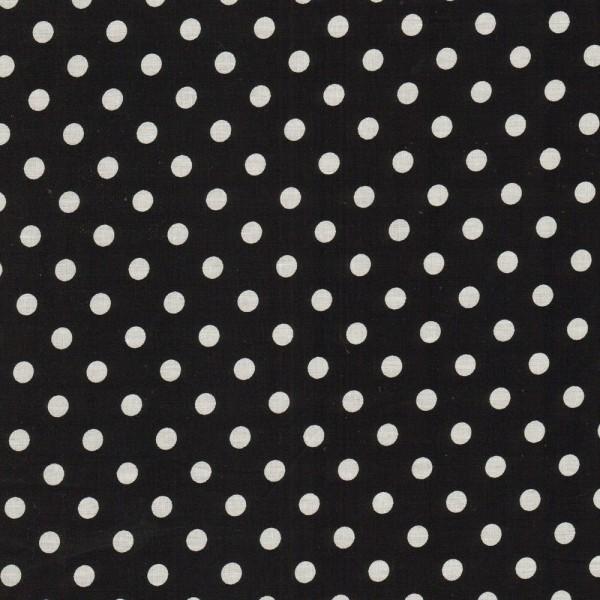 Baumwollstoff JUDITH Tupfen schwarz-weiß 7 mm