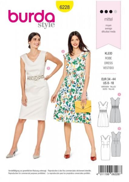 Burda Schnitt Kleid mit Gummismok – Etuikleid 6228