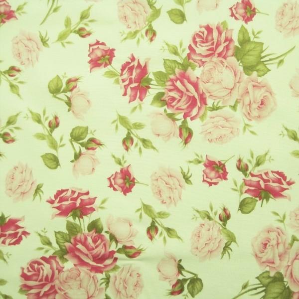 Baumwollstoff Popeline Rosentrauß rohweiß-rosa-pink-grün