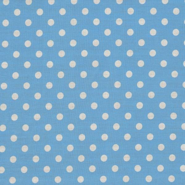 Baumwollstoff JUDITH Tupfen hellblau-weiß 7 mm