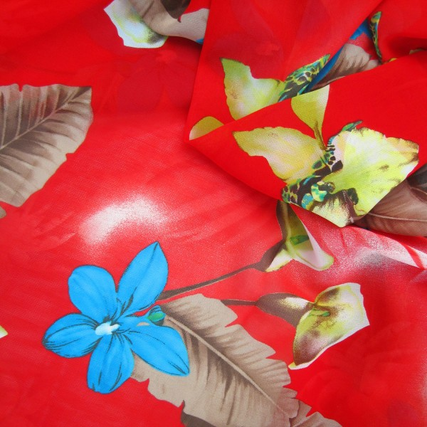 Chiffon Stoff Viskose Blumen & Blätter rot-multicolor