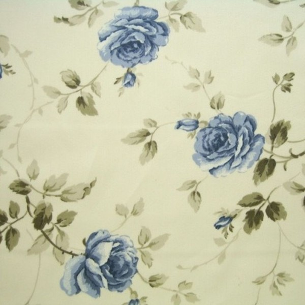 Dekostoff ROSEN natur-jeansblau
