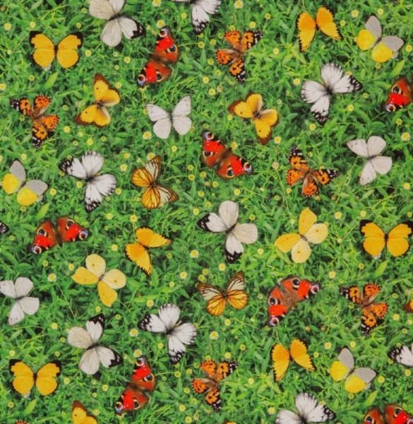 Dekostoff Schmetterlingswiese grün-bunt