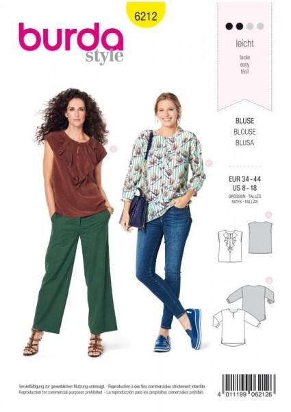 Burda Schnitt Bluse mit Ausschnittvolant – gerade Form 6212