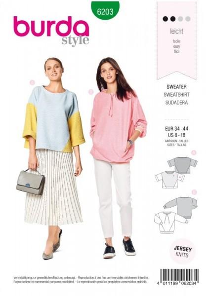 Burda Schnitt Sweatshirt – T-Linie 6203