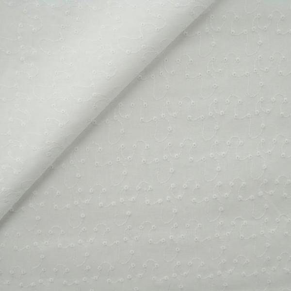 Baumwollstoff Blümchen Stickerei naturweiß