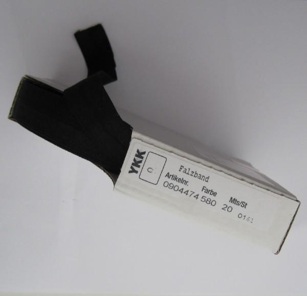 YKK elastisches Falzband 20 mm schwarz