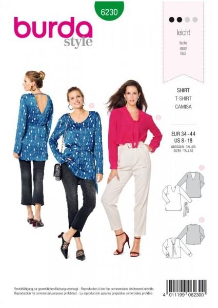 Burda Schnitt Blusenshirt – V-Ausschnitt 6230