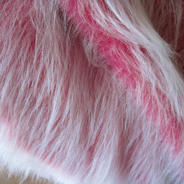 Langhaarplüsch RUDI pink-weiß