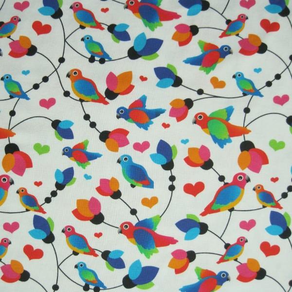 Jersey bunte Vögel weiß-multicolor - Fräulein von Julie