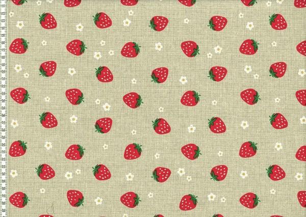 Dekostoff beige mit Druck Erdbeeren und Blumen