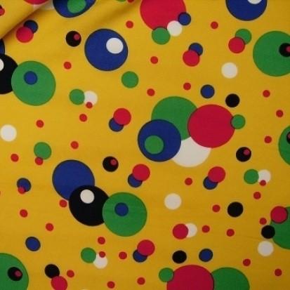 Stoff POWER Tupfen gelb-multicolor