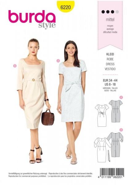 Burda Schnitt Kleid – Shiftkleid – Carré-Ausschnitt 6220