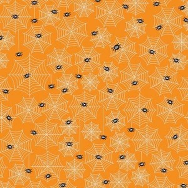 Patchworkstoff Halloween Parade Spinnen orange