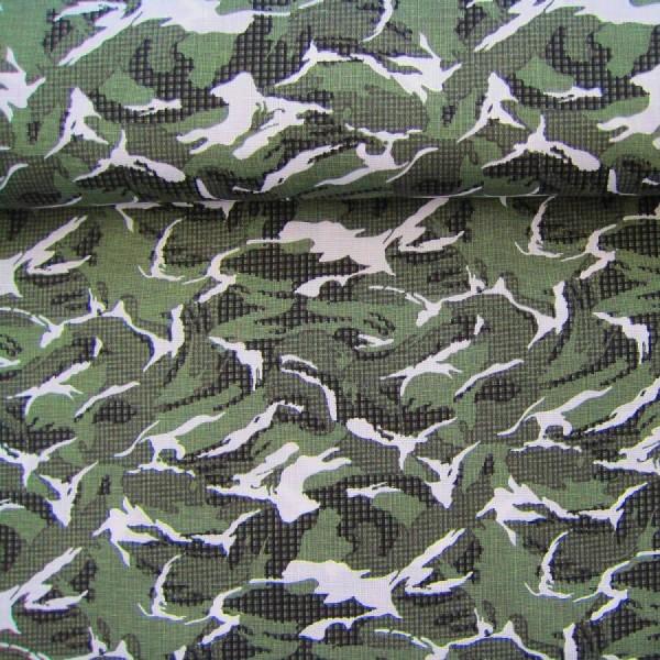 Baumwollstoff Tarnmuster Camouflage grün