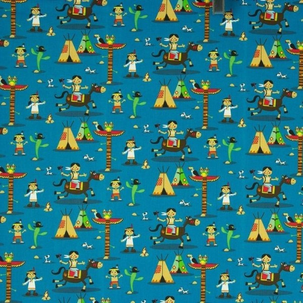 Baumwollstoff Indianer blau-multicolor