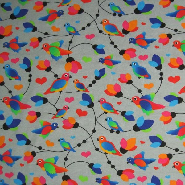 Jersey bunte Vögel grau-multicolor - Fräulein von Julie