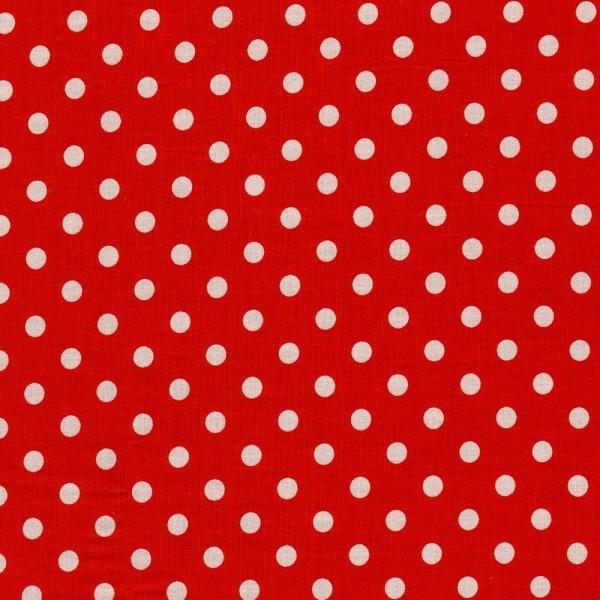 Baumwollstoff JUDITH Tupfen rot-weiß 7 mm