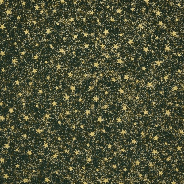 Baumwollstoff Sterne Goldstaub dunkelgrün-goldfarbig