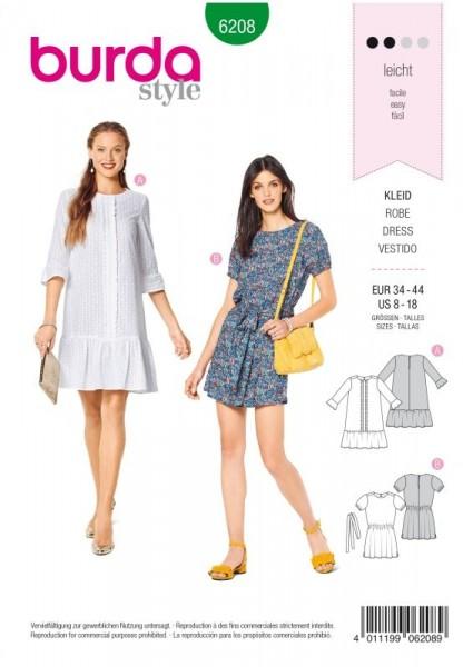 Burda Schnitt Kleid – legere Form – Saumrüschen 6208