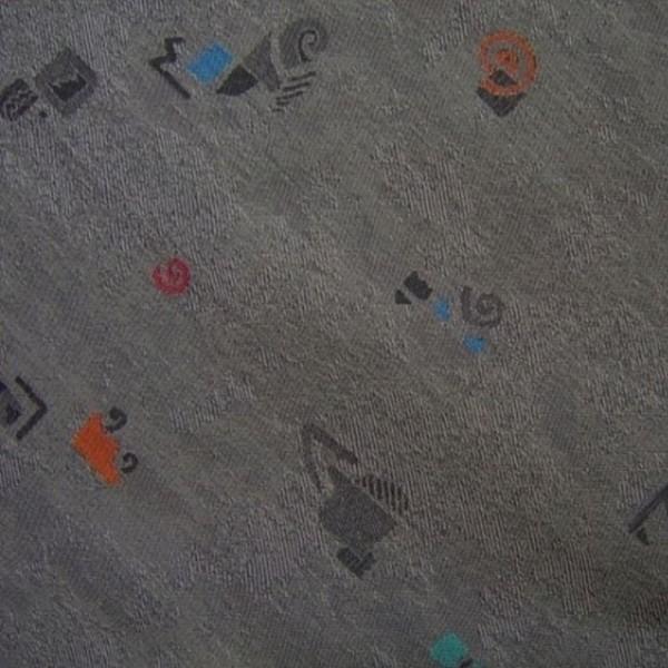 Polsterstoff Flachgewebe dunkelgrau-multicolor