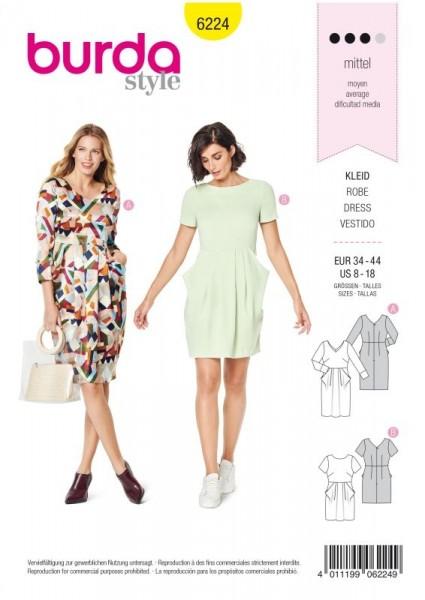 Burda Schnitt Kleid – V-Auschnitt – Rock mit Falten – Tütentaschen 6224