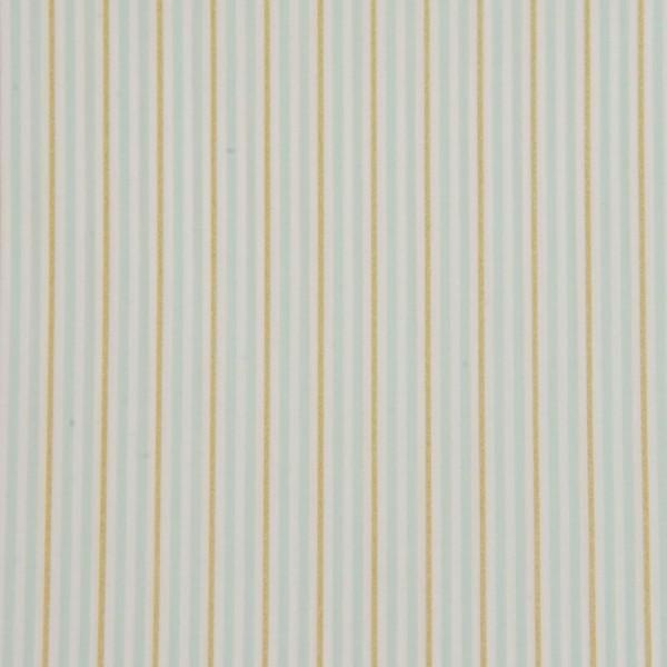 Baumwollstoff Popeline Streifen weiß-hellblau-goldbraun