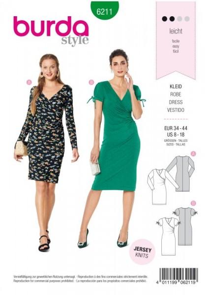 Burda Schnitt Kleid in Wickeloptik – eng anliegend 6211