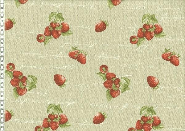 Dekostoff beige mit Druck Erdbeeren und Schriftzug