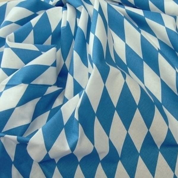 Baumwollstoff Bayernraute weiß-blau